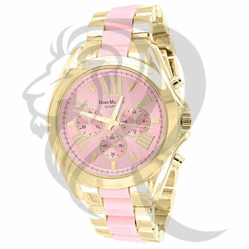 43MM Pink & Yellow Tone Plain Milano Watch