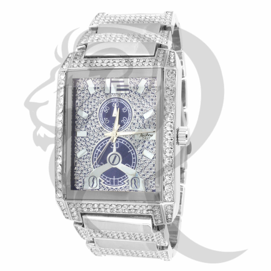 3 Time Zones  White tone IcedOut 38MM Watch