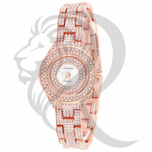 31MM Rose Gold Tone IcedOut Ladies Fashion Gino Milano Watch