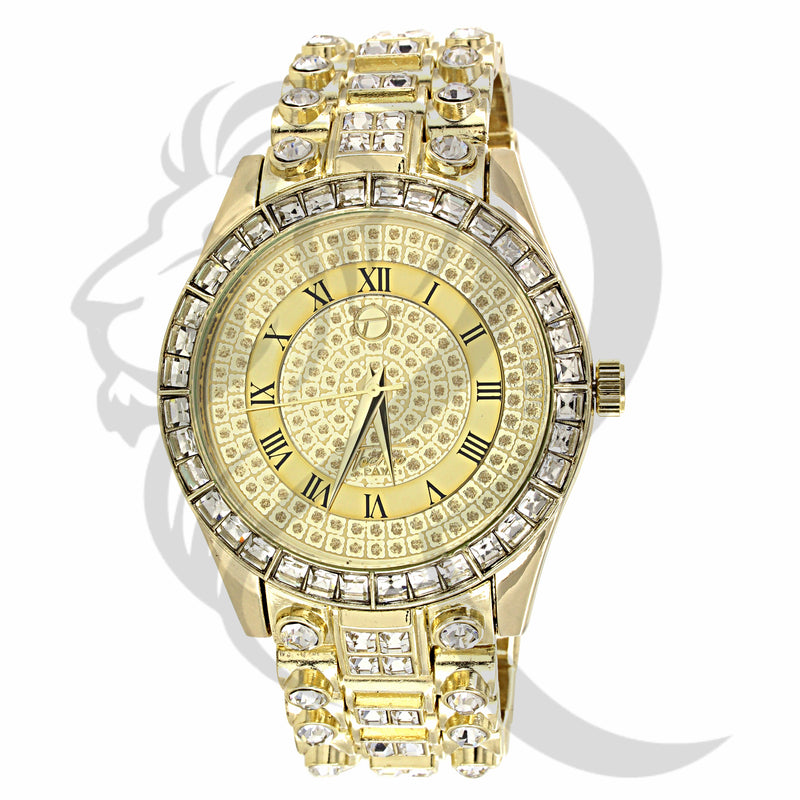 45MM Round Face Baguette Solitaire IcedOut Watch