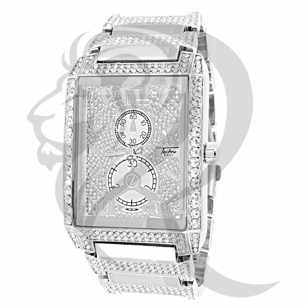 38MM White Gold Tone IcedOut Watch