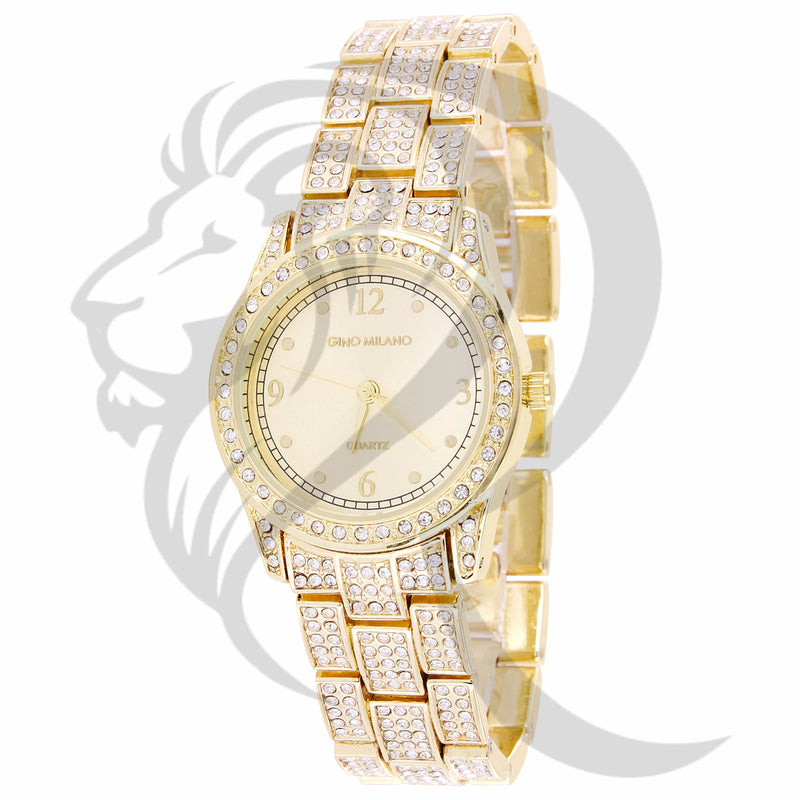 30MM Plain Dial Small Face IcedOut Band Ladies Metal Watch
