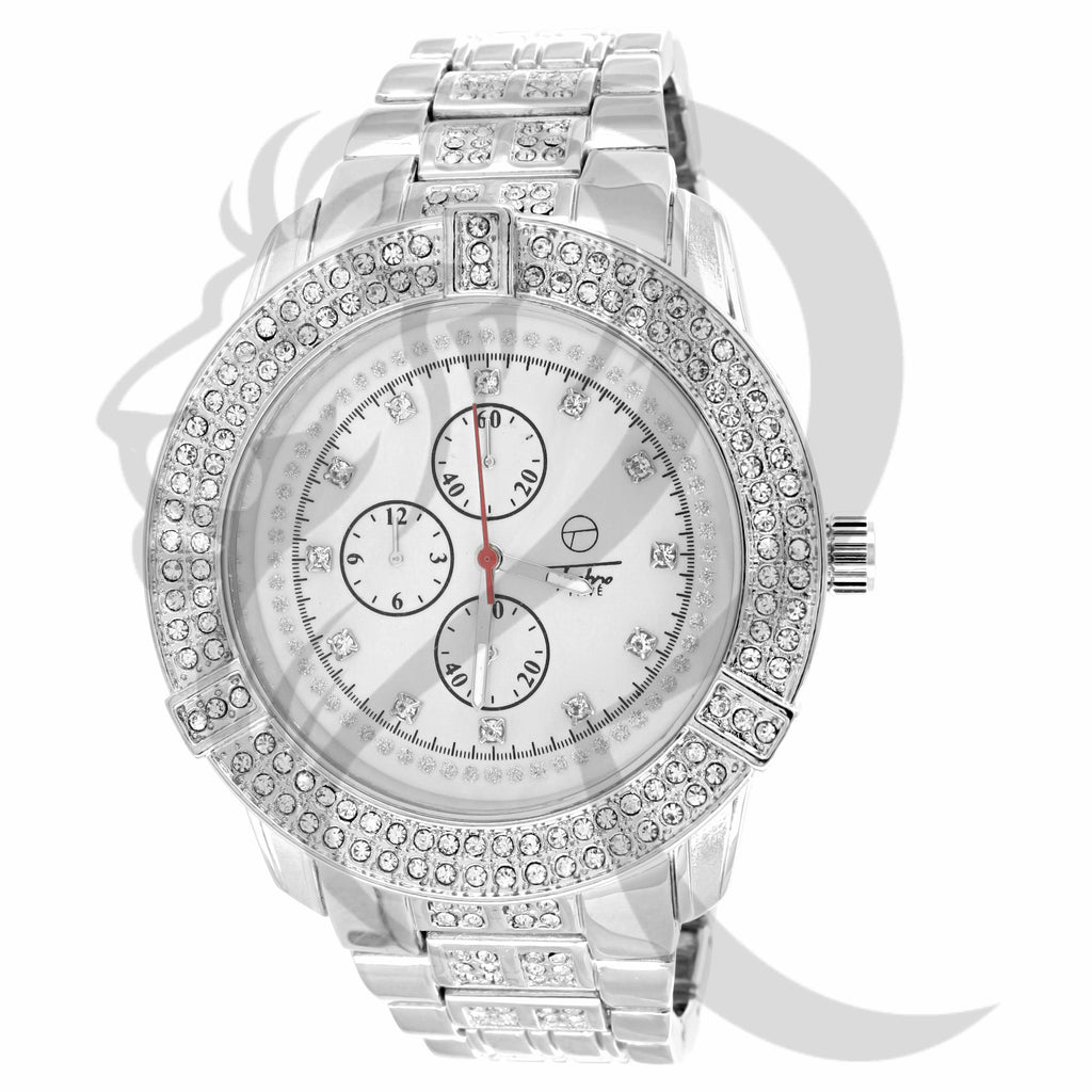 All White Jo Rodeo Style IcedOut 46MM Watch