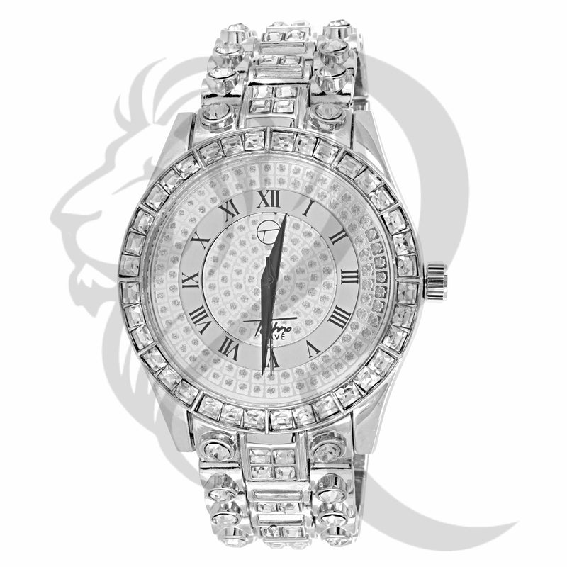 45MM White Baguette Solitaire Techno Pave Watch