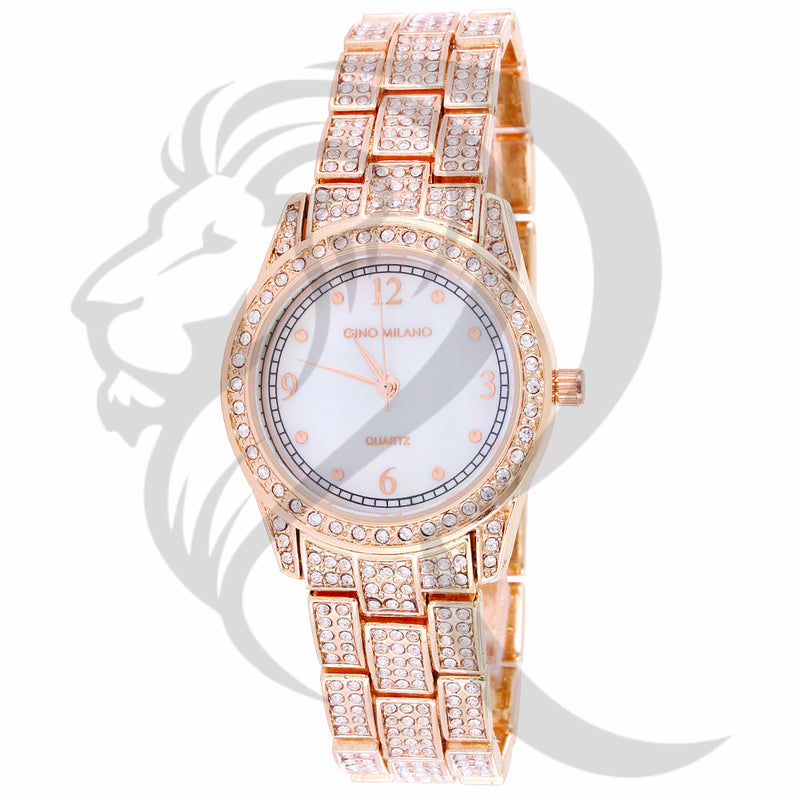 30MM White Dial Rose Gold Tone IcedOut Metal Band Ladies Watch
