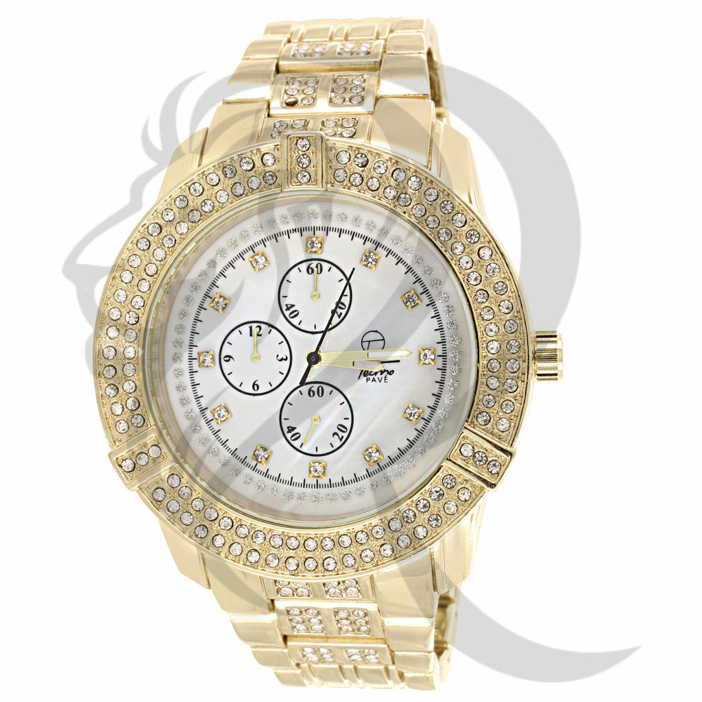 Yellow Gold White Dial IcedOut 46MM Watch