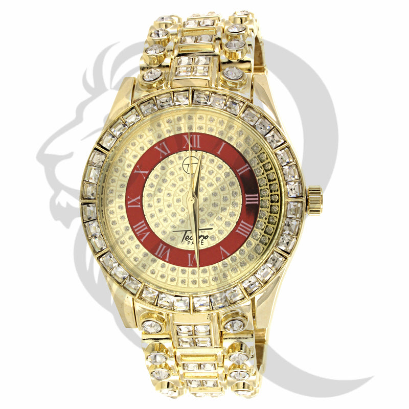 Yellow & Red Illusion 45MM Dial IcedOut Watch