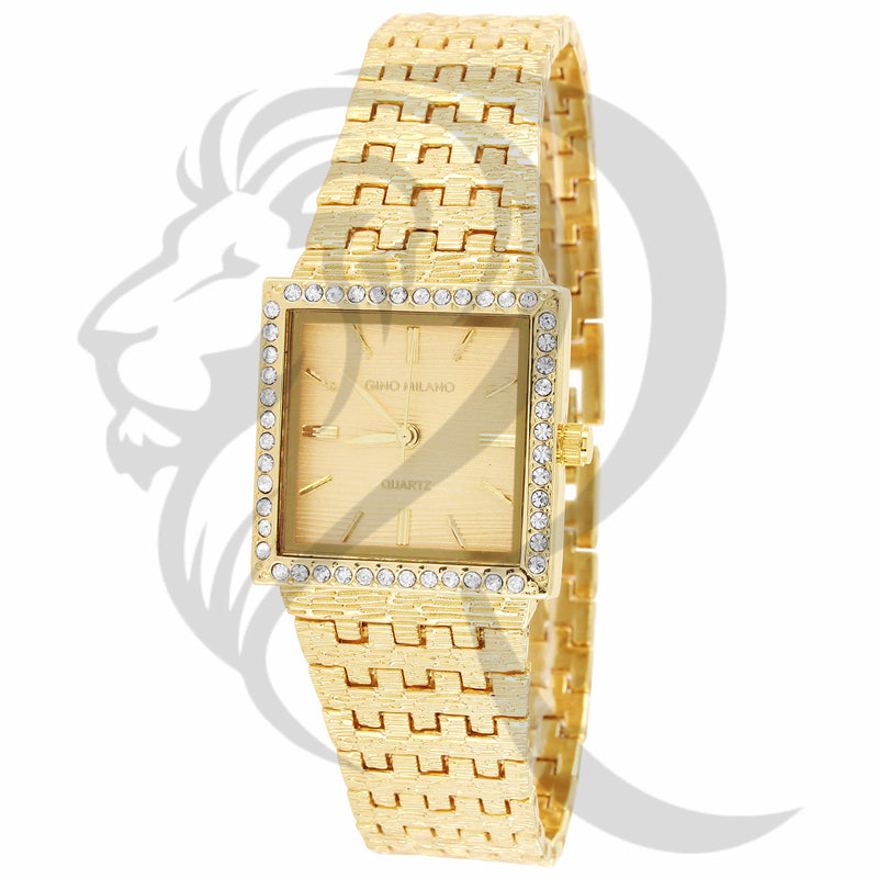 25MM Small Square Face Plain Textured Metal Band Ladies Watch