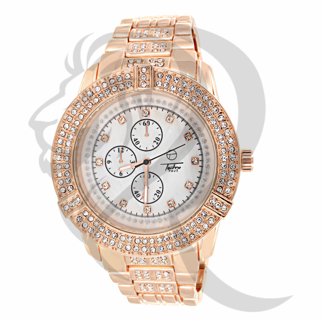 Rose Gold Jo Rodeo Style IcedOut 46MM Watch