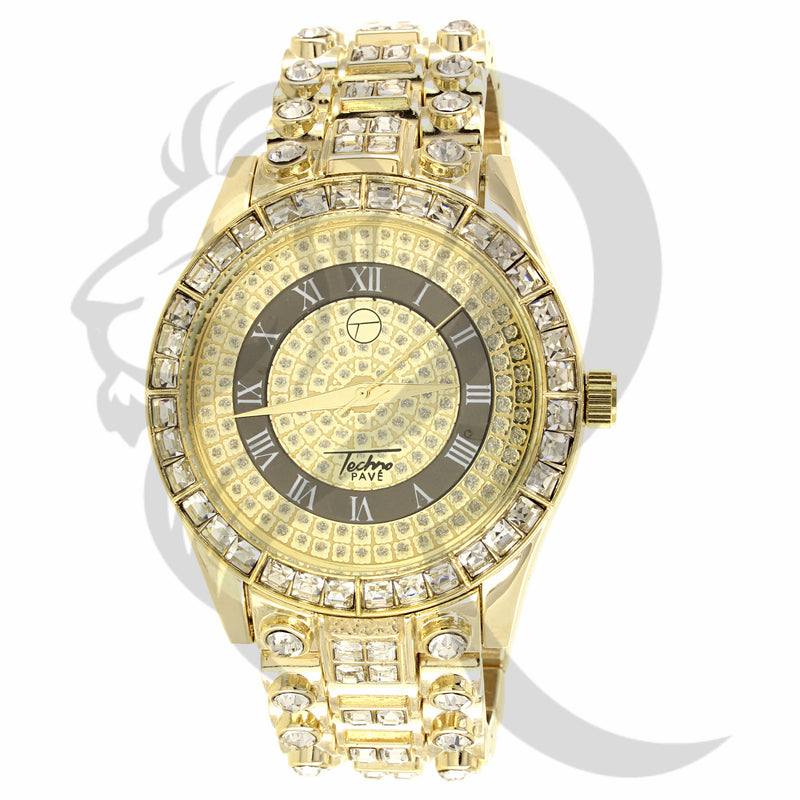 45MM Baguette Solitaire IcedOut Metal Watch