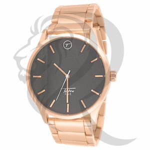Plain Rose Gold 45MM Black Dial Metal Watch