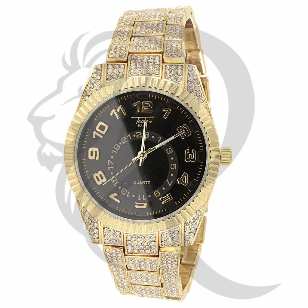 42MM Black Dial Fluted Bezel Inspired Look Luxury IcedOut Watch