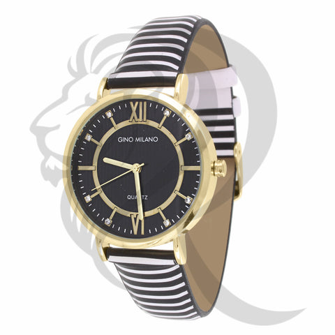 34MM Black & White Stripped Leather Watch