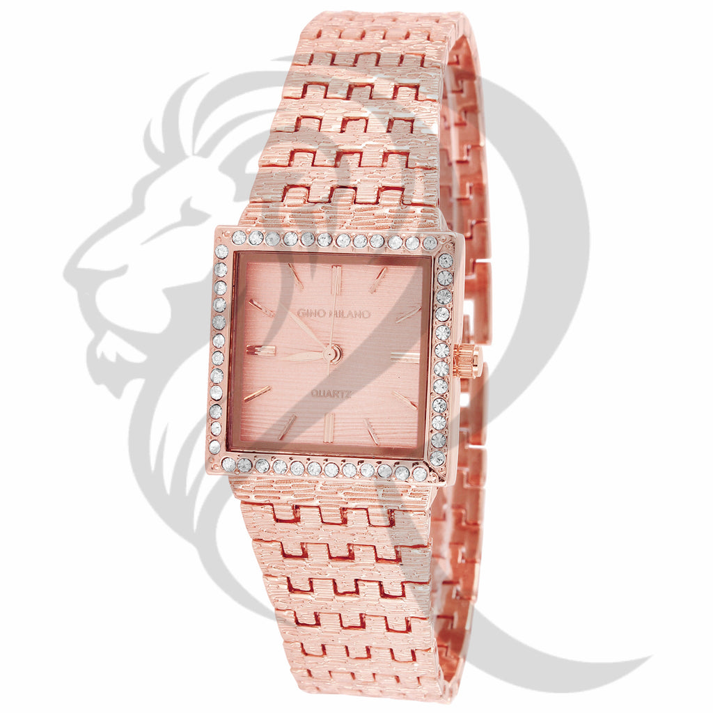 25MM Rose Gold Square Face Nugget Metal Band Ladies Watch