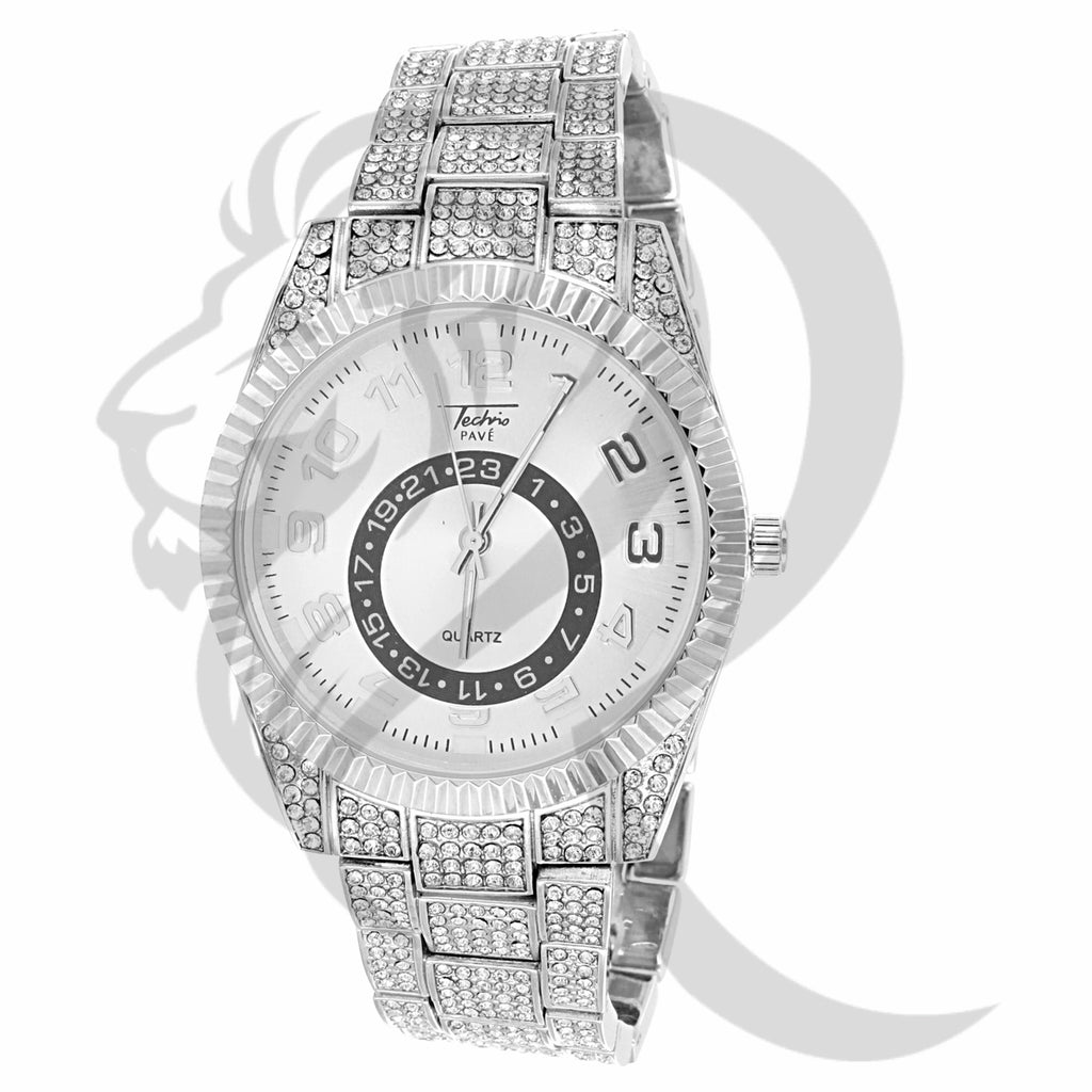 42MM White Tone Fluted Bezel IcedOut Techno Pave Watch