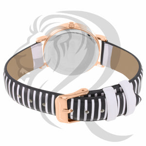 34MM Rose Gold Case Roman Numeral Dial Stripped Band Watch