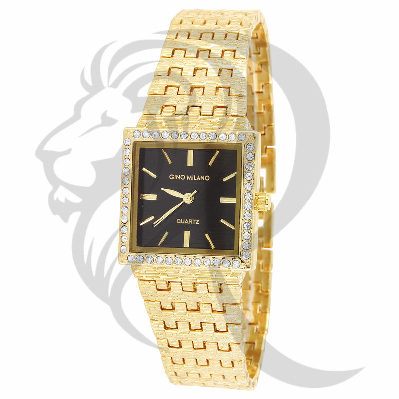 25MM Black Dial Yellow Gold Nugget Style Metal Band Ladies Watch