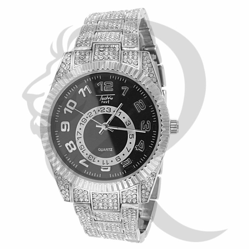 42MM Black Dial Fluted Bezel IcedOut Body Luxury Look Watch