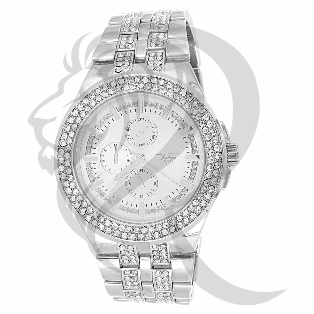 44MM Round Face Multi Dial IcedOut Ladies Inspired Look Watch