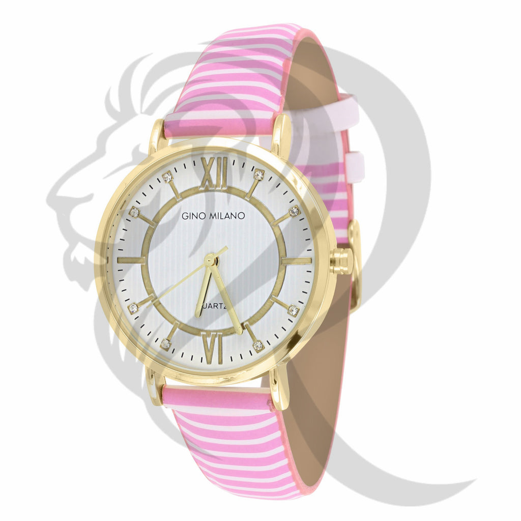 34MM Pink & White Stripped Leather Watch