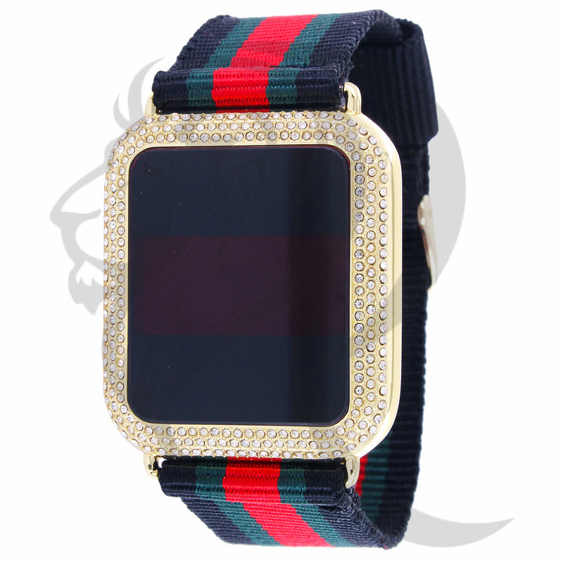 39MM Yellow IcedOut Bezel Fabric Tri-Color Band Touch Screen Watch