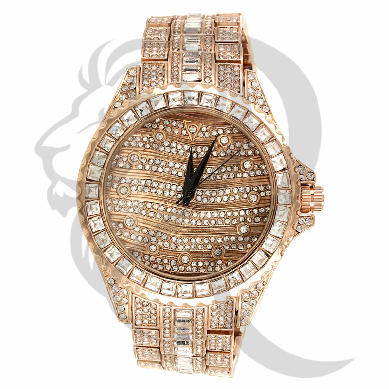 Rose Tone 46MM All IcedOut Techno Pave Watch
