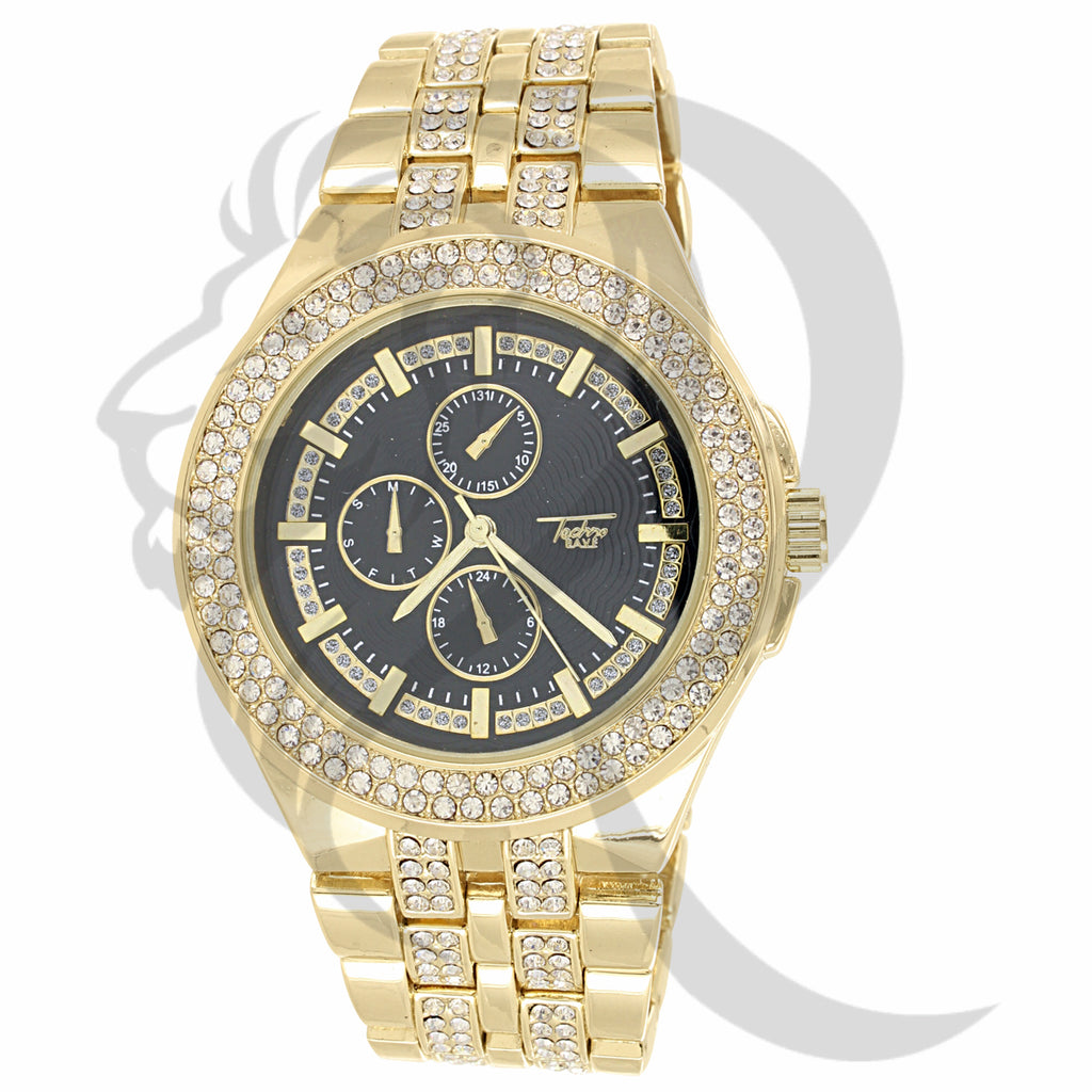 44MM Round Black Dial IcedOut Ladies Techno Pave Watch