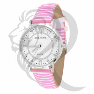 34MM White Dial Pink White Stripped Band Watch