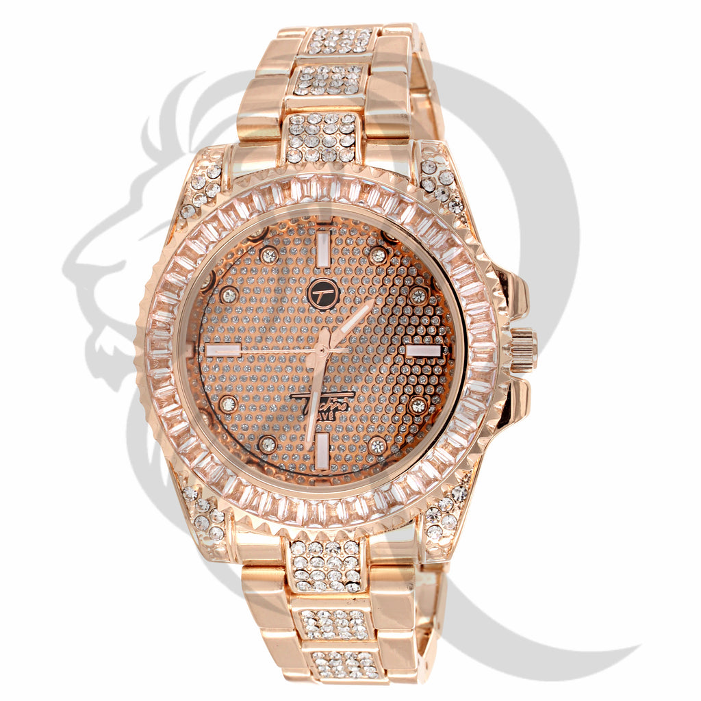 41MM Rose Gold Baguette IcedOut Watch