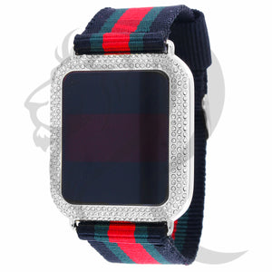 39MM IcedOut Square Face Tri-Color Fabric Band Touch Screen Watch