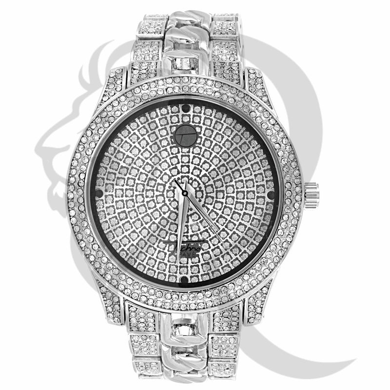 Round 48MM Face Cuban Links IcedOut Men's Watch