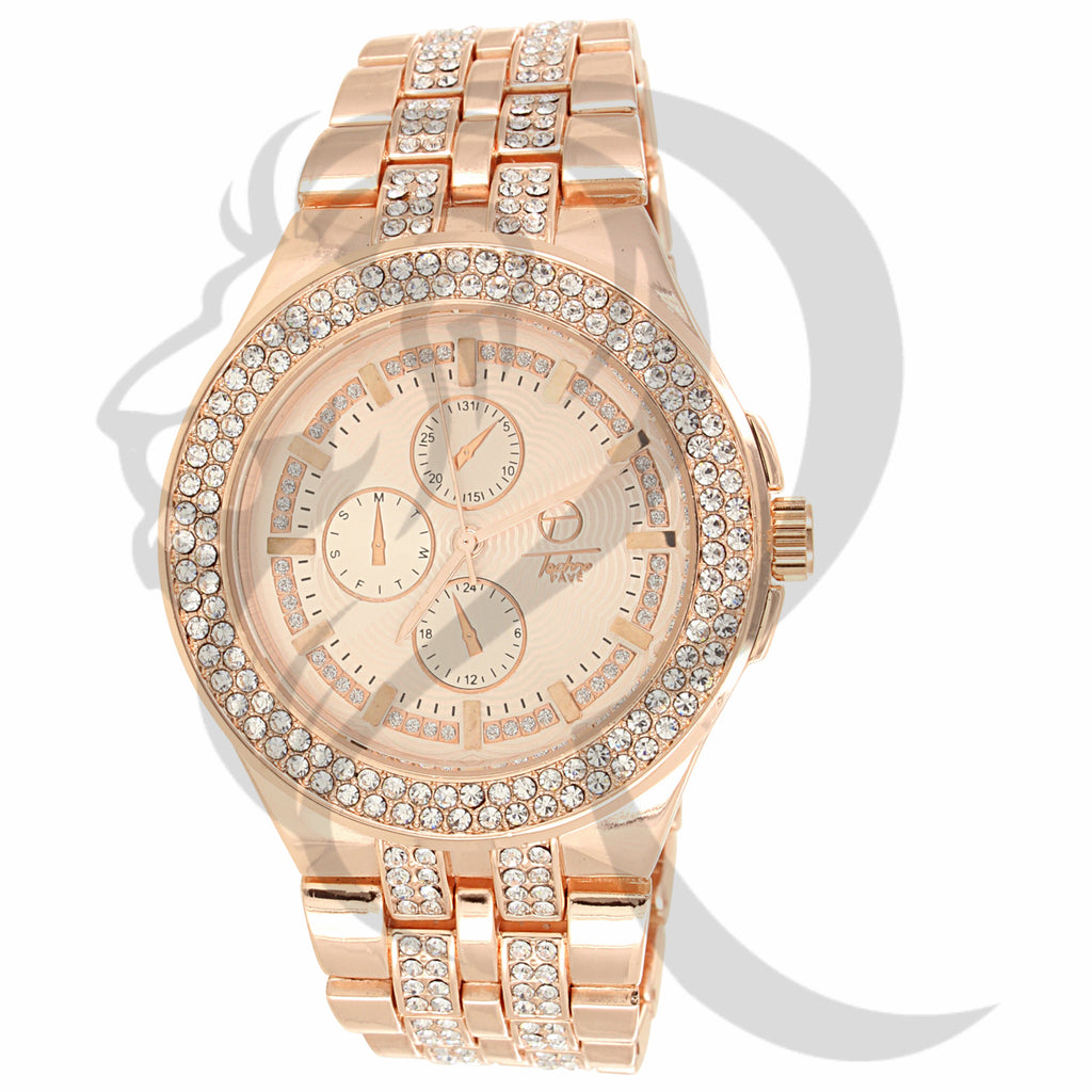 44MM Rose Gold Tone IcedOut Ladies Inspired Look Watch