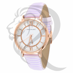 Rose & White Dial 34MM Leather Band Milano Watch