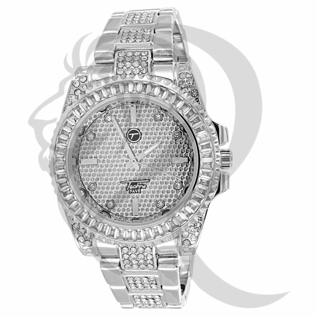 All White 41MM IcedOut Men's Techno Pave Watch