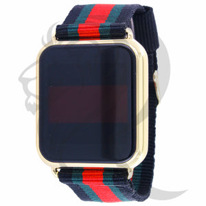 39MM Yellow Square Case Colored Fabric Band Touch Screen Watch