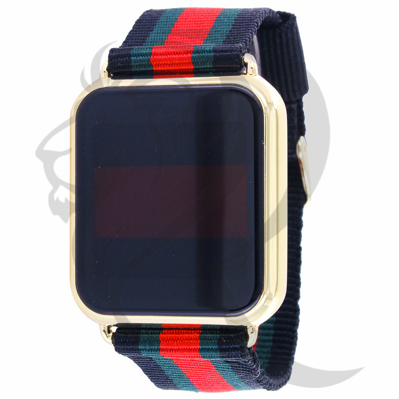 39MM Yellow Tone Case Tri-Colored Fabric Band Touch Screen Watch