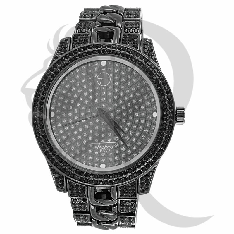 Black 48MM IcedOut Cuban Links Band Watch