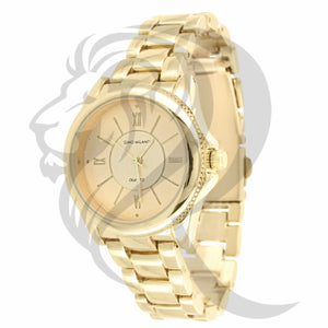 30MM Round Plain Yellow Tone Gino Milano Ladies Watch