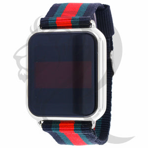 39MM Plain Square Touch Screen Designer Tri-Color Band Men's Watch