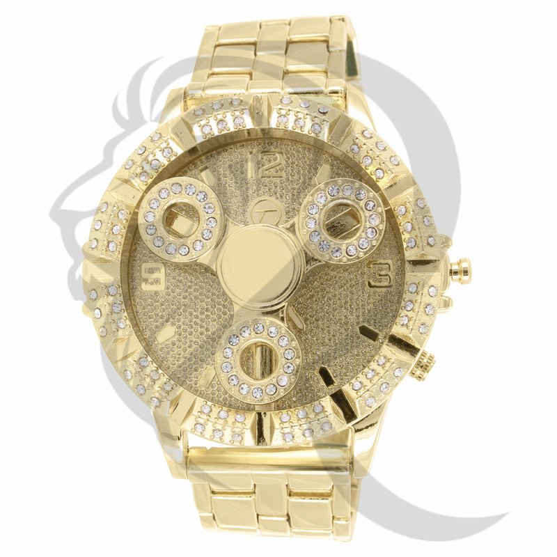 50MM IcedOut Face Spinning Fidget Watch