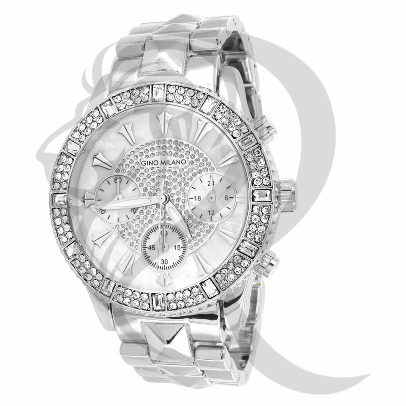 White 41MM IcedOut Face Milano Watch
