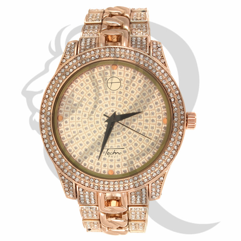 Round 48MM Illusion Dial Face Cuban Links Watch