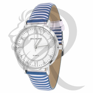 34MM Plain White & Blue Leather Band Watch