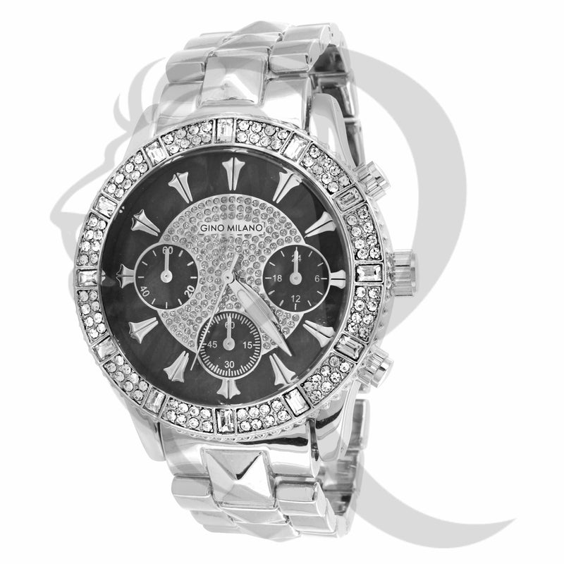 Black IcedOut Face 41MM Gino Milano Watch