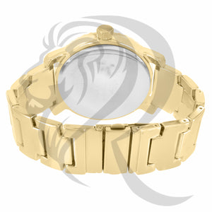 49MM Plain Yellow Gold Jesus Emblem Watch