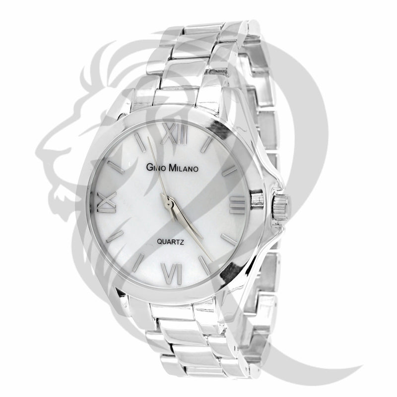 34MM Plain White Tone Watch