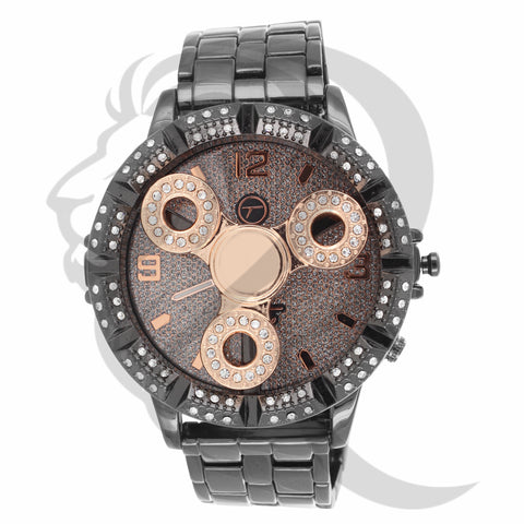 Black Gold Tone Rose Fidget Spinner Watch