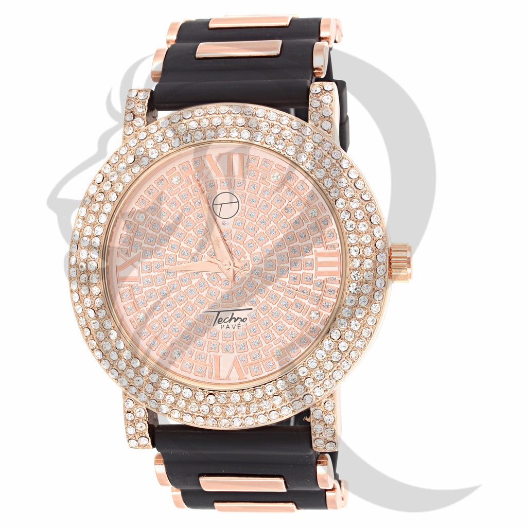48MM Rose Gold IcedOut Bullet Band Watch