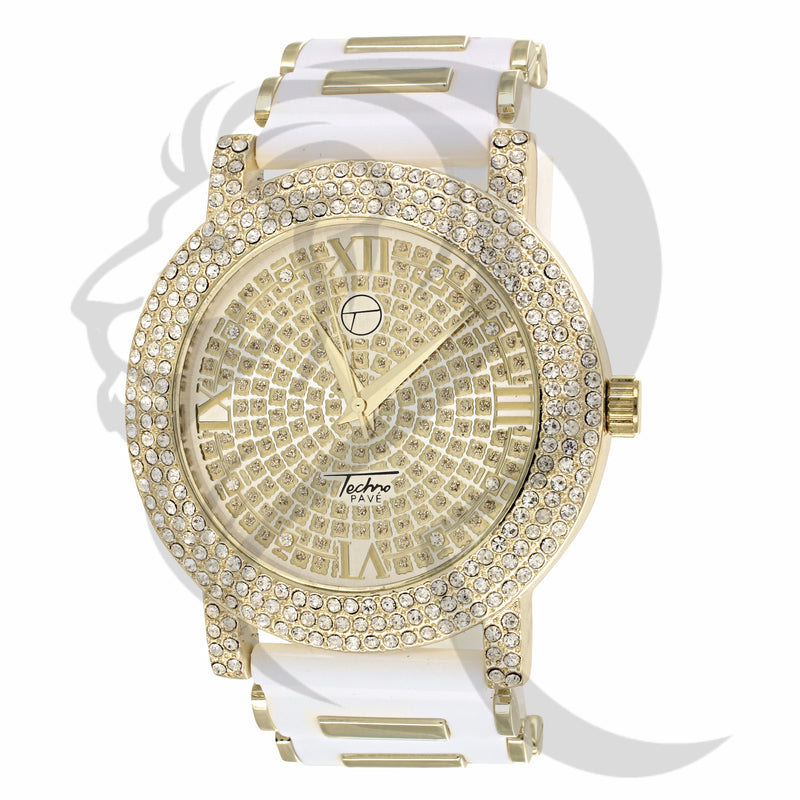Yellow Gold IcedOut Face Bullet Band Watch
