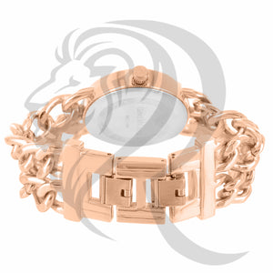 38MM Rose Gold Cuban Link Band Watch
